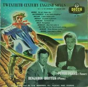 Gramofonska ploča Peter Pears / Benjamin Britten Twentieth Century English Songs - An Anthology Of English Song Vol.3 LW 5241, stanje ploče je 10/10