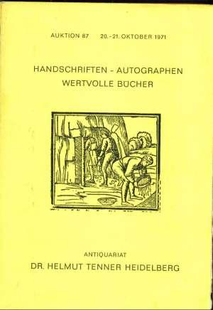 Helmut Tenner Heidelberg - Handschriften autographen wertvolle bucher