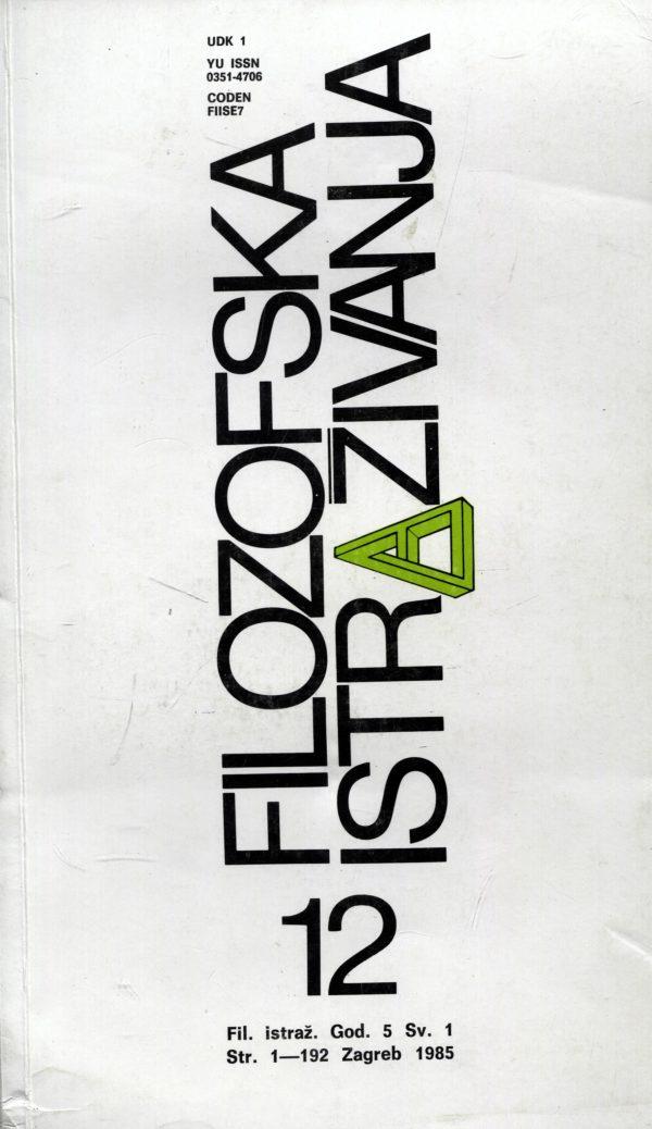 G. a. - Filozofska istraživanja 12/1985
