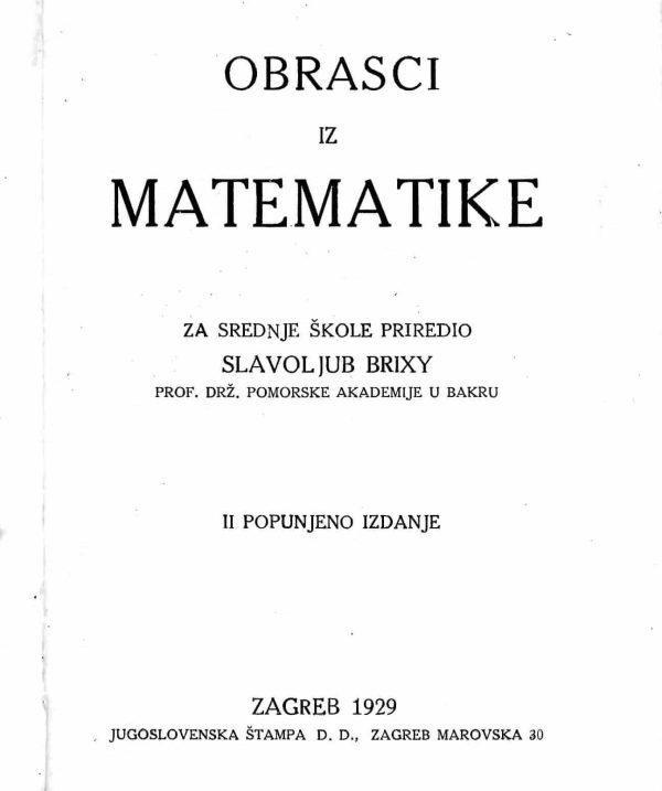 Obrasci iz matematike Slavoljub Brixy